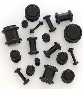 PAIR-Plug-Black-Acrylic-Ear-Plug-Gauges-14g-00g