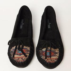 Minnetonka-Moccasins-Black-Suede-Size-10-El-Paso-Kilty-Southwest-Style