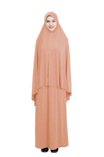 Muslim Women Abaya Set Jilbab Islamic Prayer Dress Long Hijab Arab Maxi Clothing