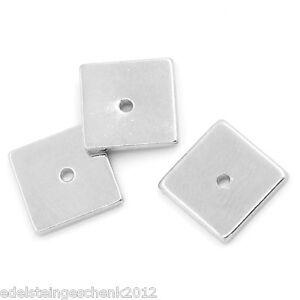 30-Silberfarbe-Quadratisch-Kuerbis-Spacer-Perlen-Beads-8x8mm