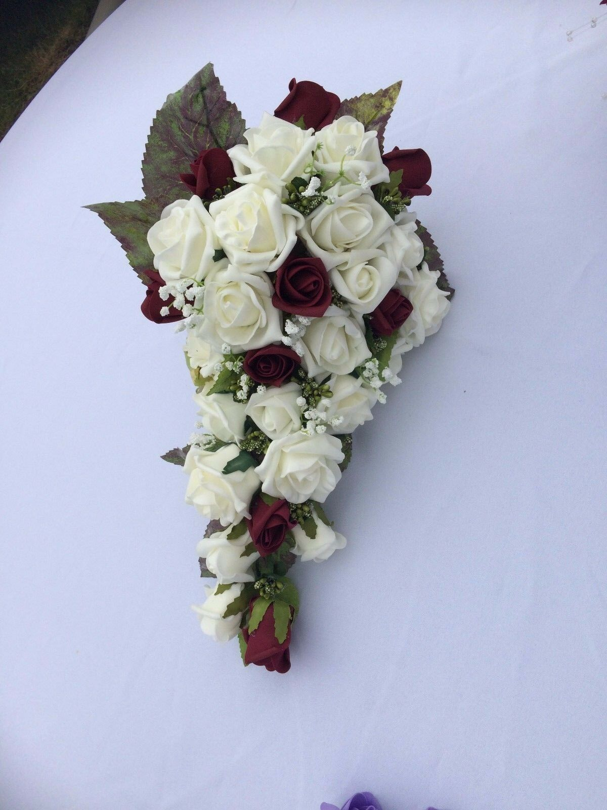 NEW Wedding Flowers Bride's Shower Bouquet Burgundy & Ivory with Gyp