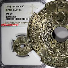 French Indo-China Copper-Nickel 1938 5 Cents NGC MS66 KEY DATE GEM BU KM# 18