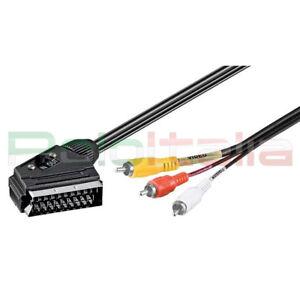 Cavo-da-2-a-5m-SCART-RCA-maschio-adattatore-doppio-audio-video-av-tv-adapter-dvd