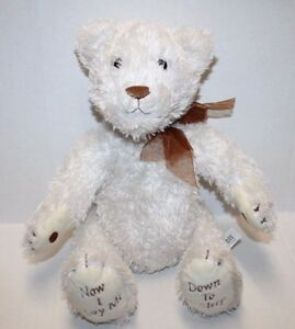 Princess-Soft-Toy-TEDDY-BEAR-12-034-Ivory-Plush-NOW-I-LAY-ME-DOWN-NO-PRAYER-SOUND