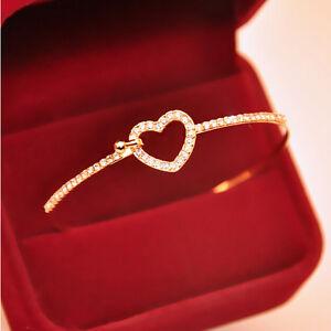 Women-Girl-Cuff-Gold-Plated-Love-Heart-Design-Crystal-Bangle-Bracelet-Gift