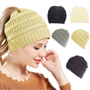 Bonnet-d-039-hiver-Bonnet-en-Tricot-Souple-Multi-couleurs-Bonnet-Queue-De-Cheval
