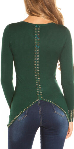 Tricot Fin Long Pull Manches Longues Rivets Pierres V-CUT