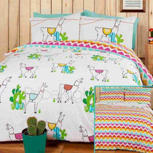 2 en 1 design Happy Lamas Housse de Couette double ensemble literie Cactus Motif Aztèque