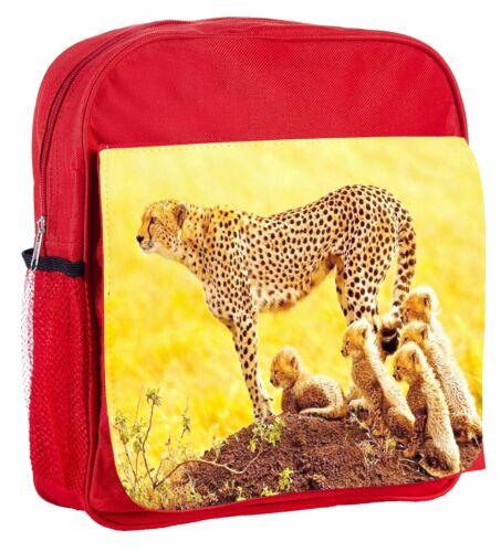 Cheetah And Babies Kids Adjustable Strap Backpack