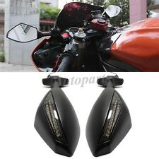 MATTE BLACK MOTORCYCLE LED TURN SIGNAL MIRROR FOR 01-03 SUZUKI GSXR 600 750 1000