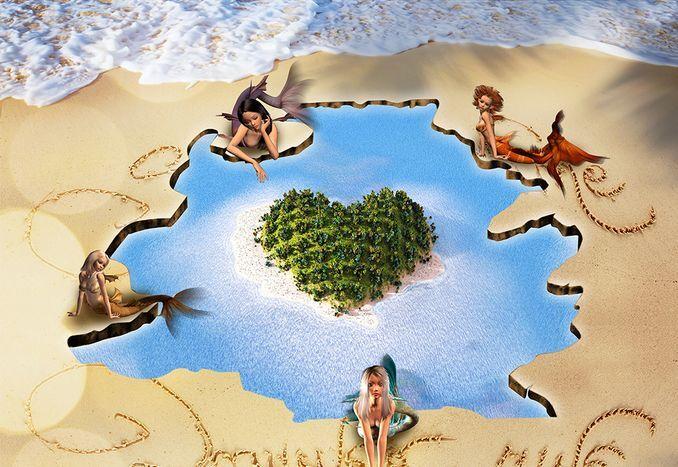 3D Fille île6 île6 île6 Fond d'écran étage Peint en Autocollant Murale Plafond Chambre Art | Approvisionnement Suffisant  2f9ab5
