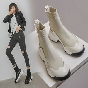 Women-Ladies-Fashion-Leather-Knitted-Elastic-Booties-Ankle-Sock-Boots-Shoes-BGHE