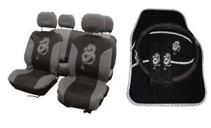 15PC DRAGON STYLE UNIVERSAL FULL CAR SEAT COVER SET GREY BLACK WASHABLE