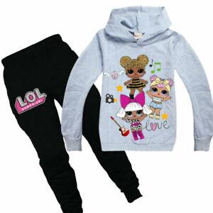 LOL Surprise Doll Kids Girls Trouser Suit Outfit Set T-shirt+Pant 2PCS 5 Colors