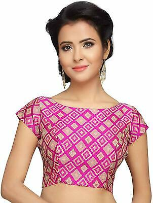 Pink Readymade Banglori Art Silk Wedding Zari Embroidered Blouse Indianattire Stitched Boat Neck Crop Party Wear Sari Top Floral For Women