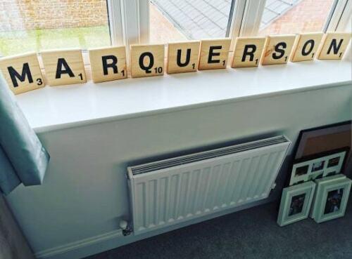 Wall Art Oversized Scrabble Letters Bespoke Personalised Wooden Engraved