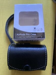 Leather Airpods Pro Case And Clip, Black