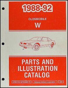 1992 Cutlass Supreme Parts Book Original Oldsmobile Master Parts