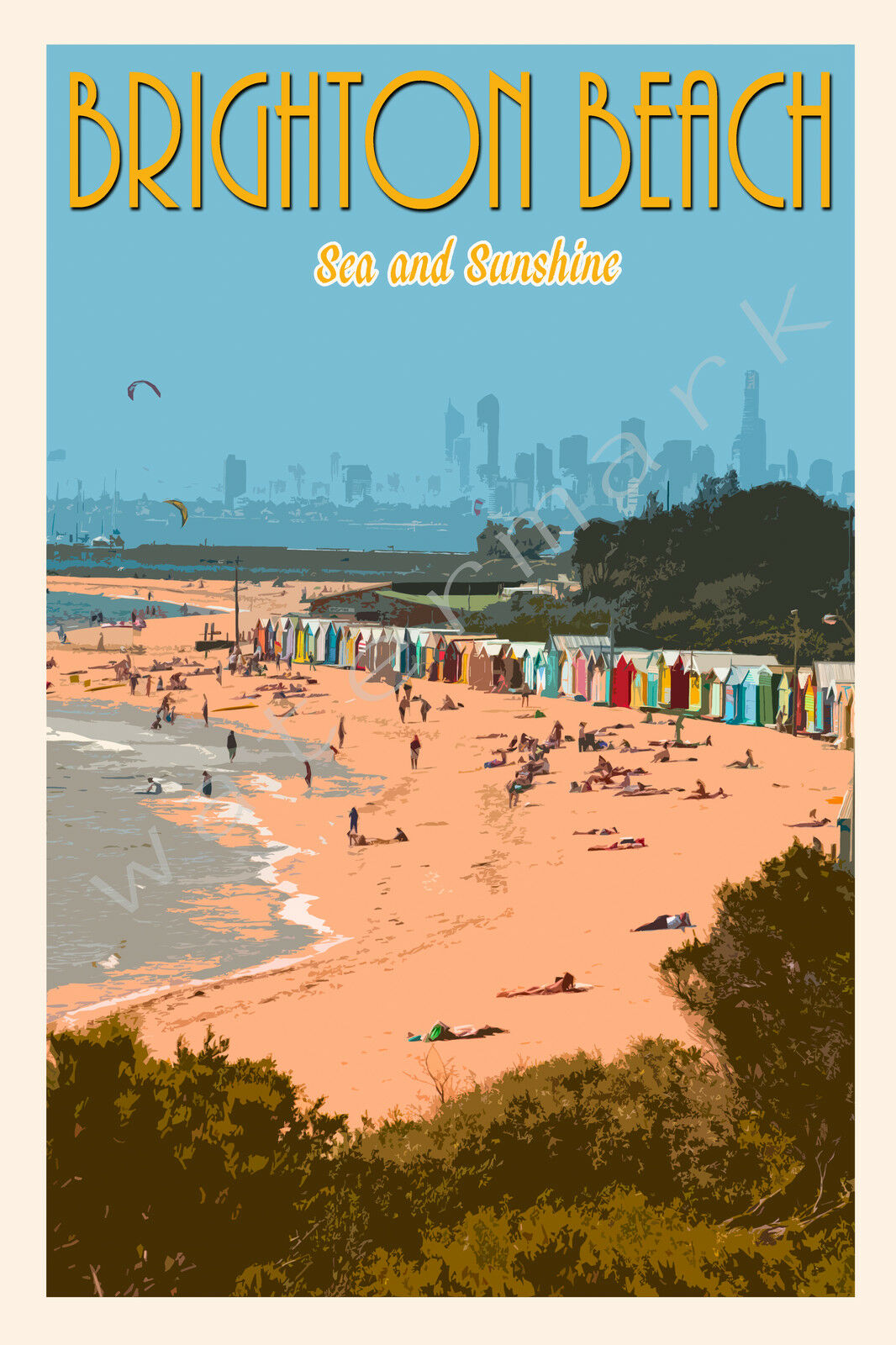 Iconic Brighton Beach Scenic Travel Print. Limited Edition of 250 Signed Artwork