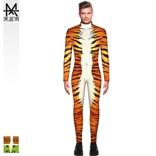 Bkab TIGER STRIPE pelle di serpente stampato Uomo Slim Tuta con Zip Manica Lunga M-2XL