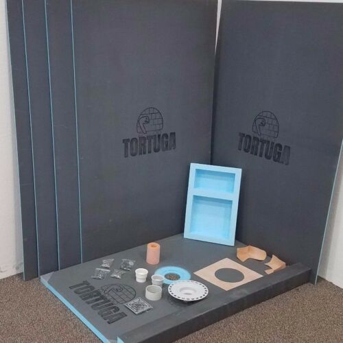 4x6 Waterproof Tile Ready Shower Kit Niche and All TORTUGA Backer Board,Tray