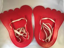 Red Plastic Big Foot Snow Shoes For Children From K-Tel Rare Vintage 1977