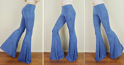 "DENIM EFFECT Blue 40"" HUGE FLARE Pull On Yoga Dance STRETCH Bell Bottoms Pants M"