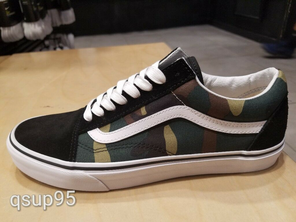 Vans Old Skool Black Green Camo White Army Size 8-13 New