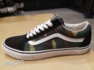 13dc0a7c4b1259 Image is loading Vans-Old-Skool-Black-Green-Camo-White-Army-