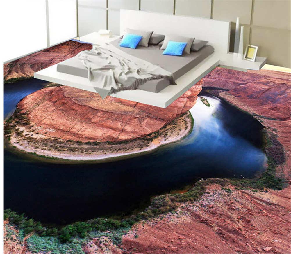 Leise Blauen See 3D Fußboden Wandgemälde Foto Bodenbelag Tapete Zuhause Dekorati