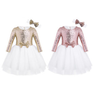 10922692da6 Flower Girls Tutu Dress Kids Baby Sequin Princess Party Wedding ...