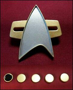 Star-Trek-Voyager-Communicator-Pin-Combadge-Com-Badge-Uniform-8x4mm-Rank-Pip-SET