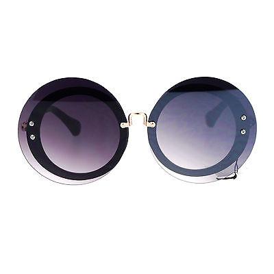 SA106 Oceanic Gradient Round Hippie Rimless Oversize Mod Sunglasses