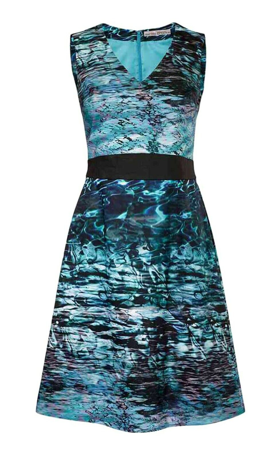 TCJ  Ashley Brooke Damen Designer Kleid Druckkleid Sommerkleid Aqua blau 34-40