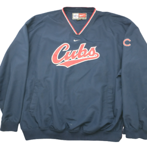 Nike-Chicago-Cubs-Men-039-s-2XL-Blue-Pullover-V-Neck-Jacket-Coat-Rizzo-Bryan-MLB
