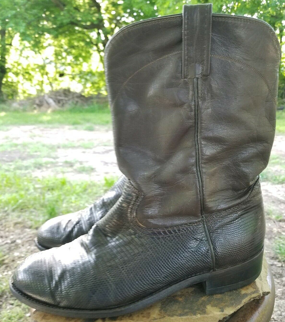Dan Post Marrón Cuero De Piel De Lagarto vaquero occidental todas las botas para hombre EW
