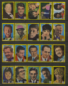 Complete-Set-of-40-Vlinder-Movie-Music-Star-Vintage-1960s-Matchbox-Label-C-Serie
