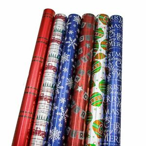 Bundle-of-6-Rolls-of-30-Premium-Foil-Traditional-Merry-Christmas-Holiday