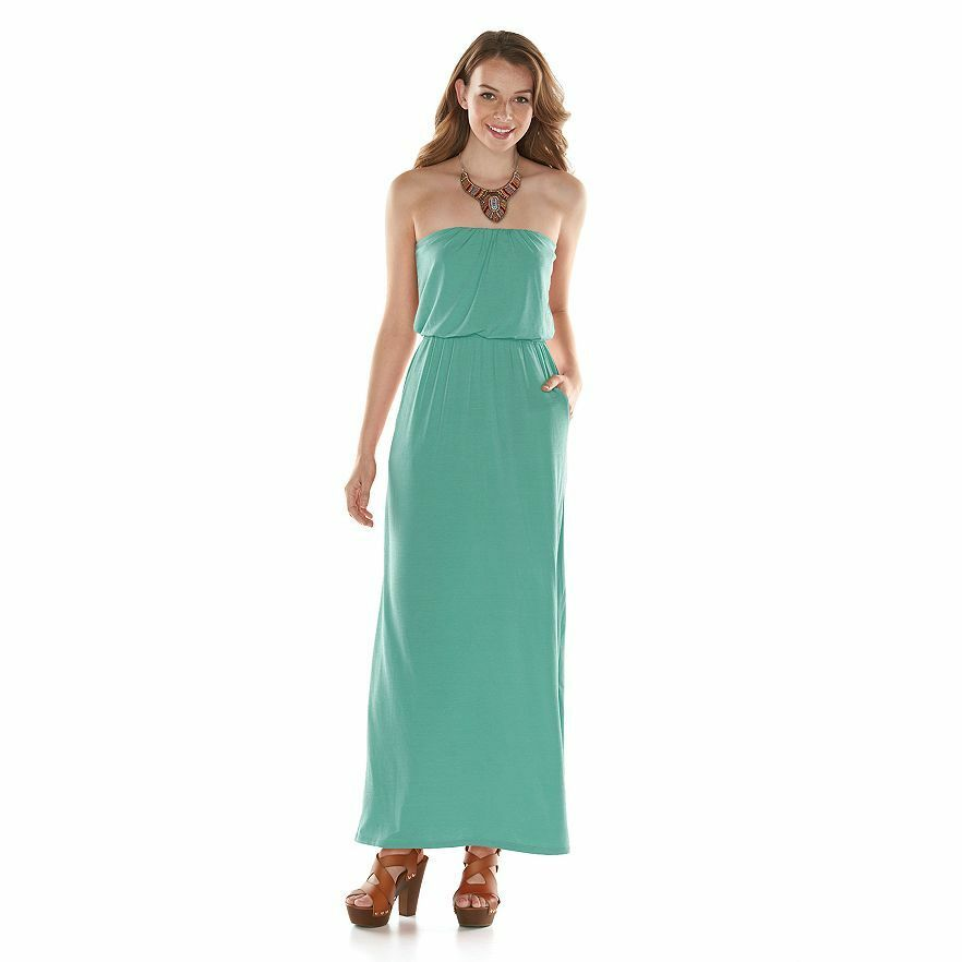 DESIGNER COLOR STRAPLESS DRESS  SEAFOAM MINT GREEN  NEW  LONG FLOW   FREE SHIP