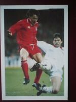 POSTCARD SPORT DEAN SAUNDERS OF WALES CHALLENGED BY STAELENS