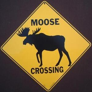 moose crossing sign silhouette art decor home wildlife signs novelty