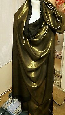 "4M  BLACK  /GOLD SHIMMER SOFT  DRESS CHIFFON FABRIC 58"" WIDE"