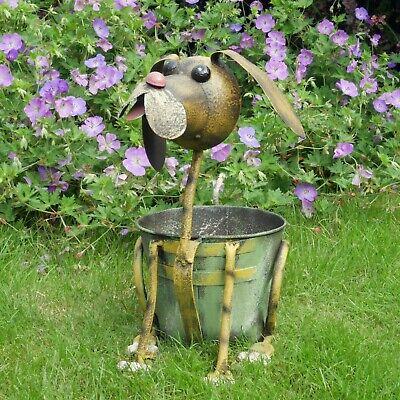 Dog Shaped Garden Planter Rusted Metal Flower Pot Home Storage