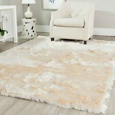 Silken Ivory Colored 4 x 6 Ft Medium Size New Fluffy Thick Shag Carpet Area Rug
