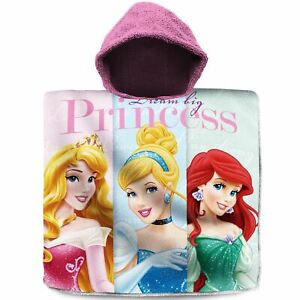 Disney-Princess-Serviette-Poncho-a-Capuche-Coton-Filles-Cendrillon-Aurora-Ariel