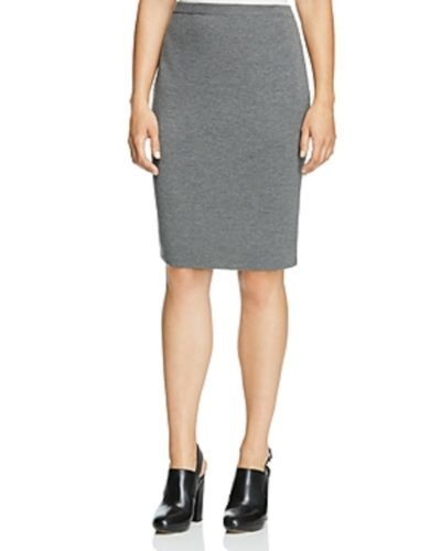 218 BNWT EILEEN FISHER The Icons Washable Wool Crepe ASH Grey K L Skirt 1X