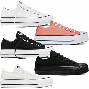 Converse-Chuck-Taylor-ALL-STAR-CLEAN-LIFT-Ox-Tessile-Sneaker-Donna-Scarpe-Plateau