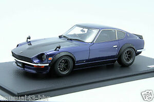 1-18-Ignition-Nissan-Fairlady-Z-S30-Blue-Carbon-Bonnet-With-Display-Cover