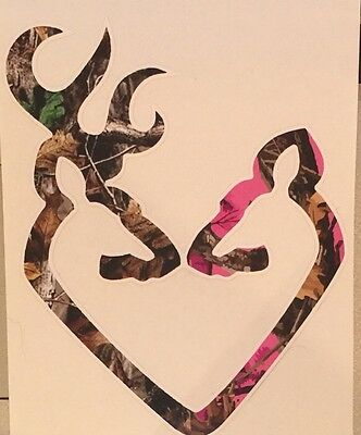 Browning Style Buck and Doe Heart Realtree White Camo Hunting Sticker Decal