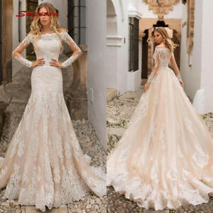 Champagne Lace Tulle Mermaid Wedding